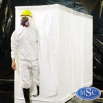 Decontamination Rooms are used for changing out of contaminated clothing into a shower to washdown before exiting the area.
